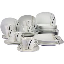 Square City Line 30 Piece Dinnerwaare Set with Mug, Service for 6