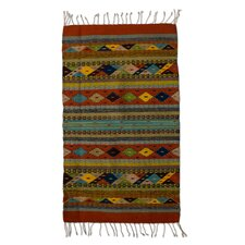 Zapotec Hand-Woven Red Area Rug