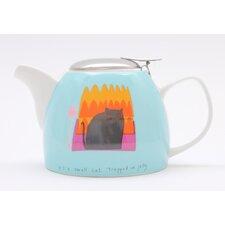 Thinking Cat 0.75L Porcelain Teapot