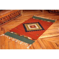 Hand-Crafted Red Area Rug