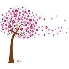 Pink Cherry Blossom Flowers Tree Art Wall Sticker