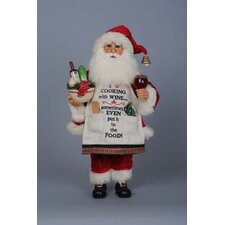 Christmas Cooking with Wine Santa Figurine