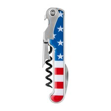 American Flag in Stainless Steel Corkscrew