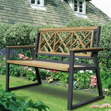 California Room Chippendale Teak and Iron Garden Bench