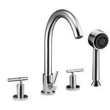 Double Handle Deck Mount Tub Filler Trim with Personal Hand Shower