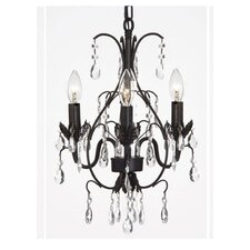 Clemence 3-Light Wrought Iron Base Crystal Chandelier