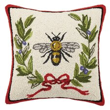 Bee with Red Bow 100% Cotton Throw Pillow
