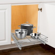 """Roll Out Cabinet Organizer - Pull Out Drawer - Under Cabinet Sliding Shelf - 17"""" W x 18"""" D - Chrome"""