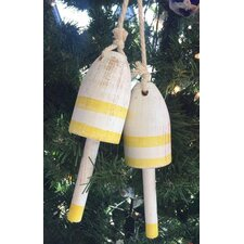 Wooden Decorative Maine Lobster Trap Buoy Christmas Ornament (Set of 2)