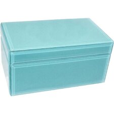 Wood & Glass Jewelry Box with Coral