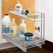 Roll Out Under Sink Cabinet Organizer - Pull Out Two Tier Sliding Shelf -  11.5 in