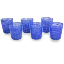 Mexican Hand Blown 6 Piece Water Glass Set (Set of 6)