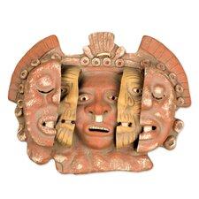 Angel Cerón Aztec Archaeological Ceramic Mask Wall Decor