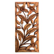 Eka Spirit of The Wild Orchids Floral Wood Relief Panel Wall Decor