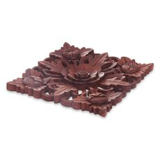 Eka Hand Carved Floral Theme Wood Relief Panel Wall Decor