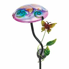 Solar Mushroom with Butterfly Design Garden Stake