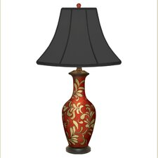 "Leaves Vase Hand Painted Porcelain 29"" Table Lamp"