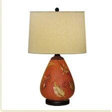 "Floating Leaf Hand Painted Porcelain 22"" Table Lamp"