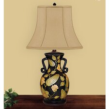 "Patted Leaf Hand Painted Porcelain 29"" Table Lamp"