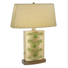 "Areca Palm Leaf Hand Painted Porcelain 28"" Table Lamp"