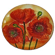 Red Poppy Flowers Plate