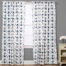 Nautical Semi-Sheer Rod Pocket Single Curtain Panel