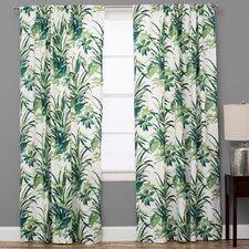 Bermuda Nature/Floral Semi-Sheer Rod Pocket Single Curtain Panel