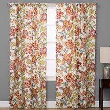 Jacobean Nature/Floral Semi-Sheer Rod Pocket Single Curtain Panel