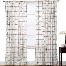 Plaid and Check Semi-Sheer Rod Pocket Single Curtain Panel