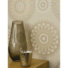 Glitter Medallion 10m L x 53cm W Geometric Roll Wallpaper