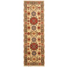 Kazak Hand-Knotted Ivory/Light Blue Area Rug
