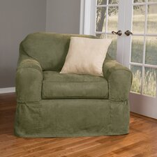 Piped Suede Separate Seat Armchair Slipcover  by Maytex