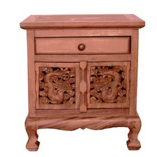 "Handmade 22"" Oriental Dragons Acacia Storage Cabinet / Nightstand - Natural Finish"