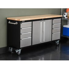 "Rolling Rubberwood 72"" Wide 8 Drawer Bottom Rollaway Chest"