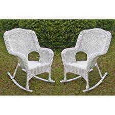 Wyndmoor  Wicker Resin Outdoor Rocking Chair (Set of 2)