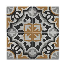 """Baha 8"""" x 8"""" Cement Patterned/Field Tile in Black/Yellow/Gray"""