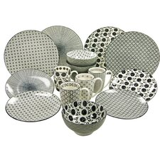 New Style Black 16 Piece Dinnerware Set, Service for 6