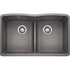 "Diamond 32"" x 19.25"" Equal Double Low Divide Undermount Kitchen Sink"
