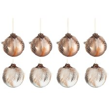 8 Piece Feathers Glass Ball Ornament Set