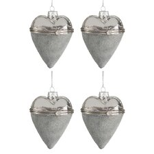 4-tlg. Ornament-Set Heart