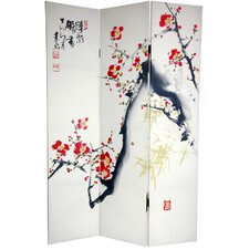 "72"" x 48"" Double Sided Cherry Blossoms and Love 3 Panel Room Divider"
