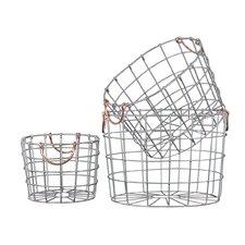 3 Piece Round Nesting Wire Basket Set