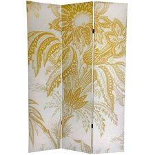 "71"" x 47.63"" Birds & Flowers French Toilel 3 Panel Room Divider"