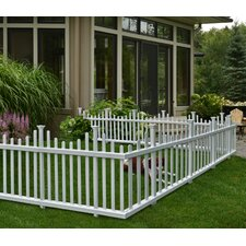 Madison No Dig Vinyl Picket Garden Fence (Set of 2)