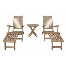 Tropicana Montage 3 Piece Steamer Lounge Chair Set