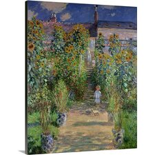 'The Artists Garden at Vetheuil, 1880' by Claude Monet Painting Print on Canvas