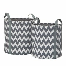 2 Piece Chevron Storage Woven Paper Basket Set