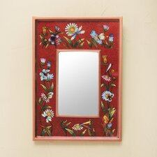 Scarlet Fields Modern Andean Hand Painted Wall Mirror