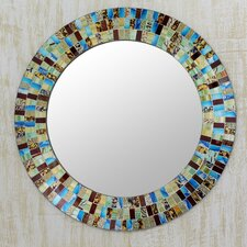 Retro Dance Disco Style Mosaic Circular Wall Mirror