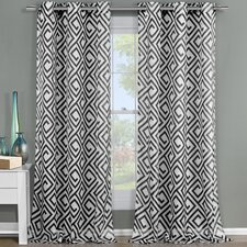 Anna Geometric Sheer Curtain Panels (Set of 2)